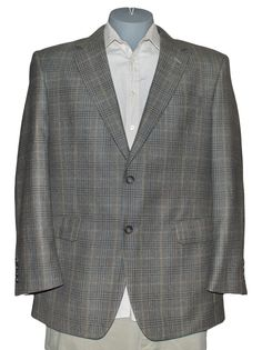 Jos A Bank Windowpane Plaid Blazer Sport Suit Jacket Coat Retro Mod Mens 43R 53R #JosABank #TwoButton