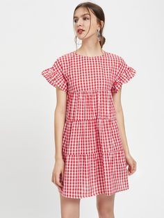 Keyhole Back Frill Sleeve Tiered Dress Simple Short Dresses, Casual Dresses For Women, Short Sleeve Dresses, Clothes For Women, Elegant Dresses, Formal Dresses, Day Dresses, Summer Dresses, Summer Dress Patterns