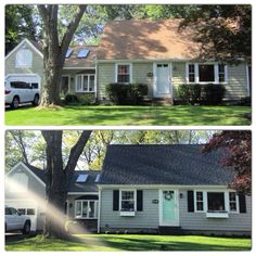 before and after - exterior cape house renovation/facelift. new roof w/ pewterwood architectural shingles, ellie grey paint (sherwin williams), soft mint door (benjamin moore), black panel shutters, white window boxes, and updated landscaping with endless summer hydrangeas and wee willie boxwoods. glad to be finished!