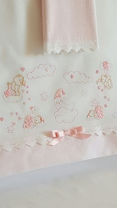 This Pin was discovered by Bri Hand Work Embroidery, Baby Embroidery, Cross Stitch Embroidery, Embroidery Designs, Baby Sheets, Baby Bedding Sets, Smocking Patterns, Embroidered Pillowcases, Baby Couture