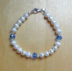 Blue Czech glass & ivory pearl sterling silver bracelet - to match necklace