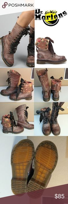 Doc Martens Triumph boot, brown leather and floral Dr. Martens women's tall Triumph 1914 boot, brown leather with floral lining that can be cuffed and ribbon laces. Boot is 12 inches tall. Great condition! Soles are not worn down or dirty, insoles don't have any stains or markings but the logo on the insole has rubbed off completely in one shoe and partly in the other. There is a very small scuff on the front of the right pair, shown in second photo. I've worn them two or three times only…