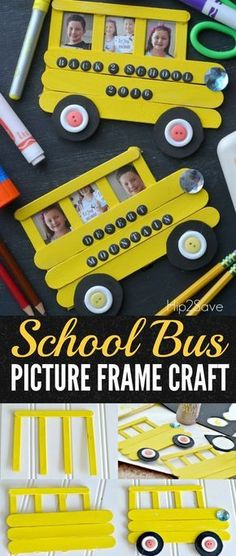 Craft Stick School Bus (Back to School Idea) is part of School crafts For Preschoolers Create this school bus frame out of craft sticks to display back to school photos as a fun keepsake - Popsicle Stick Crafts, Craft Stick Crafts, Preschool Crafts, Fun Crafts, Arts And Crafts, Craft Sticks, Baby Crafts, Simple Crafts, Popsicle Sticks