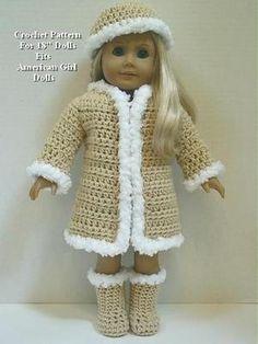18 doll crochet coat pattern free | Crochet Pattern CS26 Furry Coat Hat Boots Fits American Girl Dolls 18 ...