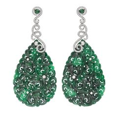 Hand carved jade and diamond ear rings. David Marshall London
