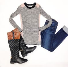 Top $54 (not available at Excelsior or Selby) Jeans $70 Boots $54 @ Primp Boutique