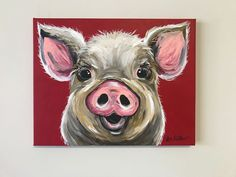 Canvas Pig art print from original canvas painting colorful Pig art, pig art with red background by HippieHoundUSA on Etsy