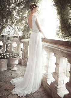 Wedding Dresses - $294.81 - A-Line/Princess V-neck Sweep Train Chiffon Lace Wedding Dress With Beading (0025055891)