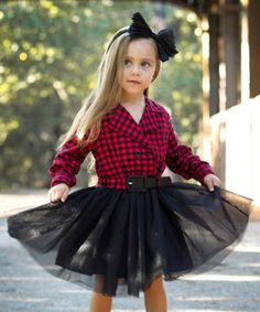 Look at this Mia Belle Baby Red & Black Check Tutu Dress - Toddler & Girls on #zulily today!
