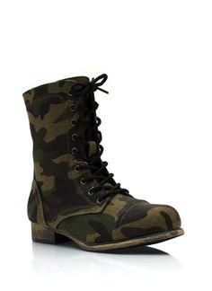 Blending In Camo Combat Boots