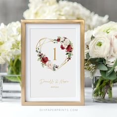 Red Table Number Card Template, Wedding Table Number, 100% Editable Text, Printable INSTANT DOWNLOAD, Red Floral, BIRNIE by DIYPaperPrints on Etsy