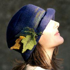 Navy Blue felt hat ,Three felted leaves, Autumn Leaves,Merino wool, nuno felting, Felt & Fabric,Leaves. via Etsy.