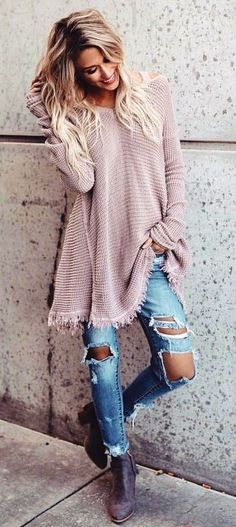 #winter #outfits brown long-sleeved sweater