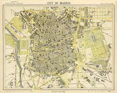 Antique  Madrid  city map by AncientShades on Etsy