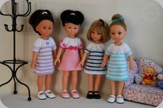 Free knitting patterns for Les Chéries dolls - in French (you have to request them through the comments section). Will fit Hearts for Hearts dolls.