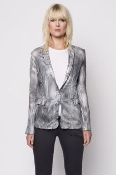 BANO EEMEE Attica Leather Perforated Jacket Silver   beauty & grace   Carmel City Center   Carmel, IN