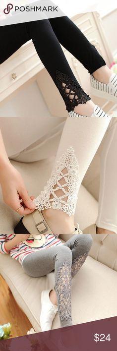 New Lace Leggings New Cotton lace leggins -  super cute with lace on sides! 3 available-3 colors Pants Leggings