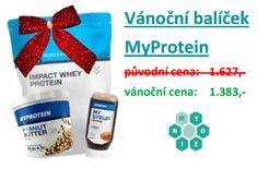 ! VÁNOČNÍ AKCE ! DOTKNĚTE SE VELKOOBCHODNÍCH CEN  Pokud ještě nemáte dárek pod stromeček, darujte nadílku od Myozinu. ;)  Vánoční akcí ušetříte 244 Kč.  BALÍČEK OBSAHUJE: MyProtein – Impact Whey Protein 2500 g (příchuť: čokoláda) MyProtein – Arašídové máslo 1000 g (varianta: crunchy) MyProtein – MYSYRUP 400 ml (příchuť: čokoláda)  NAKUPUJTE ZDE: http://myozin-store.webgarden.cz/unnamed/obchod/akce/vanocni-balicek-od-myprotein