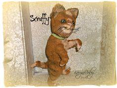 9.5 inch 'Scruffy' 'Vintage Style Viscose Tom Cat by Artist KarynRuby - pinned by pin4etsy.com