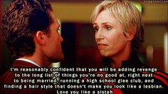 """19 Reminders That Sue Sylvester Was An Absolute Savage - - """"I don't trust a man with curly hair. I can't help picturing small birds laying sulfurous eggs in there, and I find it disgusting. Small Birds, Pet Birds, Curly Hair Men, Curly Hair Styles, Bird Silhouette Tattoos, Crochet Bird Patterns, Bee Hummingbird, Best Bird Feeders, Chicken Coop Run"""