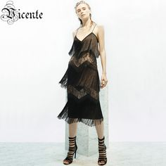 Pre-Order Free Shipping! 2017 New Fashion Elegant Lace Tassels Embellished Spaghetti Strap Women Wholesale Celebrity Party Dress