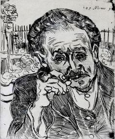 """L'unique eau-forte gravée par Van Gogh, un portrait du docteur Gachet, """"L'homme à la pipe"""" (1890)."""