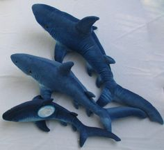 Shark plush set gray k m petting zoo fish 11 14 sea for Life size shark plush