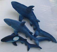 Shark Plush Set Gray K M Petting Zoo Fish 11 14 Sea