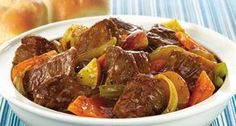 This quick and easy recipe shows you how to make beef stew in just 30 minutes, not hours. Using McCormick® Beef Stew Seasoning Mix, a more tender cut of beef and frozen vegetables makes stew a weeknight meal. QUICK AND EASY BEEF STEW Korma, Biryani, Quick Easy Meals, Easy Dinner Recipes, Easy Desserts, Healthy Recipes, Cooking Recipes, Cooking Tips, Salad Recipes