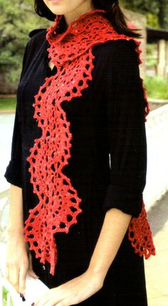tejidos artesanales en crochet: bufanda ondulada tejida en crochet