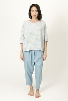 Ilana Kohn's grey grid tee has a loose, easy fit with raw edges at the  sleeve and hem.      * 100% cotton jersey