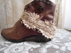 Fabric Boot Bracelet/Cuff Lace Adjustable Steampunk Brass Hippie Boho Shabby Chic Upcycled Tea Stained Lace Cowboy Boots Ugg Boots Plus Size by LandofBridget on Etsy