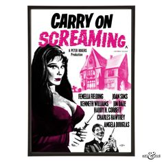 Pop art reworking of the original Carry On Screaming poster featuring Fenella Fielding & Kenneth Williams, using fine art archival paper & pigment inks