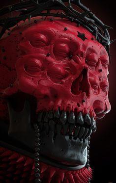 Neon Demon on Behance Karl Valentin, Arte Obscura, Sculptures Céramiques, Creepy Art, Scary, Masks Art, Cyberpunk Art, Creature Concept, Dark Fantasy Art