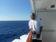 Baby on our balcony sailing to Jamaica <3