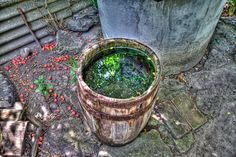 Stock image of 'Wooden barrel with water near the well