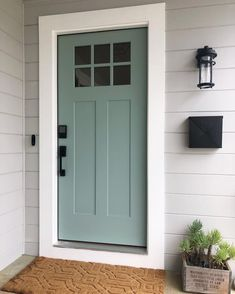 17 curb appeal ideas that will entice homebuyers - Modern Exterior Door Colors, Front Door Paint Colors, Painted Front Doors, Front Door Design, House Paint Exterior, Exterior Doors, Dark Front Door, Outside House Paint Colors, Best Front Door Colors