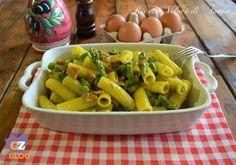 tortiglioni con uova asparagi e speck