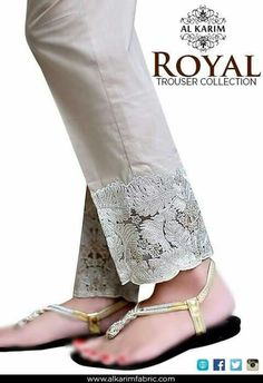 Beautiful Lace detail on Pants w/ flats chappal. via Stitch on your own lace trim or fabric. Salwar Designs, Blouse Designs, Lace Pants, Women's Pants, Beige Pants, Pleated Pants, Salwar Pants, Anarkali Suits, Pants For Women