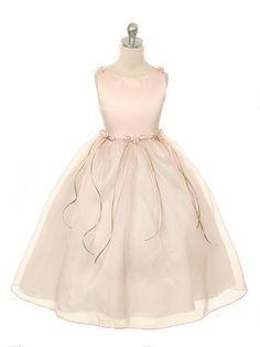 Rose Elegant Satin Bodice Flower Girl Dress (Sizes Infants-14 in 12 Colors) - Flower Girl Dresses - GIRLS