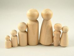 7 Peg Dolls - Large Family - Unfinished Wooden Peg Dolls for DIY