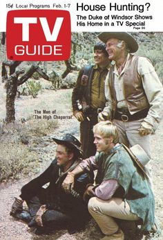 "TV Guide: February 1, 1969 - The Men of ""The High Chaparral"" - Henry Darrow, Leif Erickson (standing), Cameron Mitchell, Mark Slade"