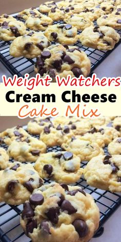 Oh my gosh, these are good and so easy. Use your imagination. I stumbled upon this recipe after realizing just how many cake mixes I had in my pantry. I love the flavor the cream cheese gives it. I'm a chocolate chip fiend, so I used a Duncan Hines French Weight Watchers Desserts, Weight Watcher Cookies, Plats Weight Watchers, Weight Watchers Cake, Cake Mix Recipes, Ww Recipes, Cheesecake Recipes, Dessert Recipes, Cooking Recipes
