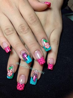 Disenos de unas Wow Nails, Crazy Nails, Short Nail Designs, Nail Art Designs, Nail Swag, Fingernail Designs, Pedicure Nail Art, Pretty Nail Art, Long Acrylic Nails