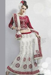 Off White Net Lehenga Choli with Dupatta