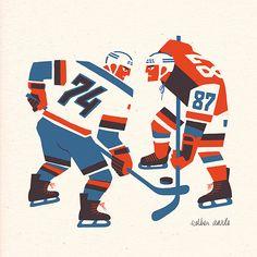 https://flic.kr/p/khxQoC | Ice hockey SHOWDOWN | Sochi 2014 Ice Hockey Duel - Riso print. It's yours for 16 euro at estheraarts.com/shop/ice-hockey-showdown/