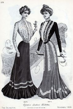 The typical point of dressing in 1900s is high neck, very long skirt. Women this time favored S-line body, so they used to wear corset. More: Effective Indoor Toilettes - Vintage Women's Fashions from 1900
