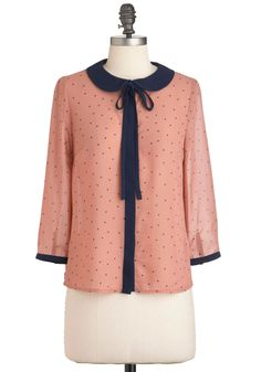 at Mod Cloth // Frilled to the Trim Top - Pink, Blue, Polka Dots, Peter Pan Collar, Long Sleeve, Mid-length, Work, Casual, Vintage Inspired, Scholastic/Collegiate, Pastel, Tie Neck, Button Down, Collared