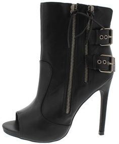 OLIVE37 BLACK PU PEEP TOE ZIPPER DOUBLE STRAP BOOT ONLY $13.88