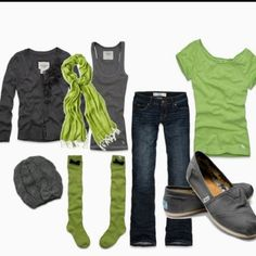 Lime green and gray